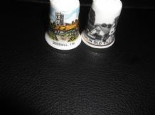 2 X ELEGANT BONE CHINA THIMBLES COLLECTION FROM ISLE OF WIGHT DIFFERENT DESIGNS